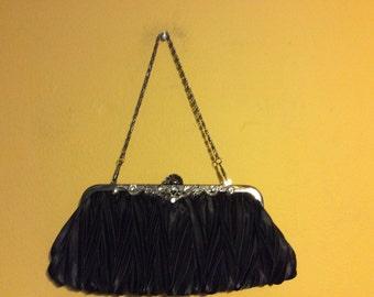 Vintage Black Satin Evening Handbag, Clutch with Jeweled Trim