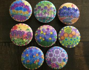 1.5 inch funky flowers cabinet knobs drawer pulls lavender green yellow purple pink