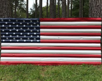 Rustic United States Flag from Recycled Circa 1960's Galvanized Roofing Tin