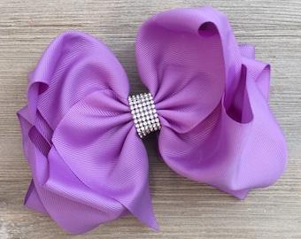 Rhinestone Light Purple Hair Bow, XXL Purple Hair Bow,  Jumbo Purple Hair Bow, Large Purple Hair Bow, Lilac Hair Bow, Ready to Ship!
