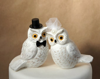 Snowy white owl wedding cake topper, owl wedding cake topper, bird cake topper, animal wedding cake topper, handmade wedding cake topper