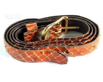 Vintage Italian Vero Cuoio Brown Leather Belt, Made In Italy, Leather Belt, Belts, Dress Belt, Metal Buckle, Unique, Retro, Genuine