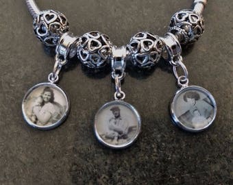 Custom Made Photo charm using Your Photo fits European or Pandora Bracelet Buy 2 + and Save