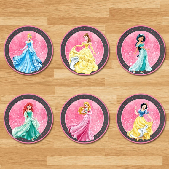 Disney Princess Cupcake Toppers - Chalkboard - Disney Princess Stickers - Classic Princess Topper - Princess Printables - Princess Party - A