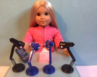 Decorated Desk Light / Lamp with Gems - adjustable , really works - made for any 18 inch american doll