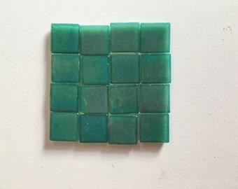 Iridised Glass 2cm x 2cm x 4mm Teal