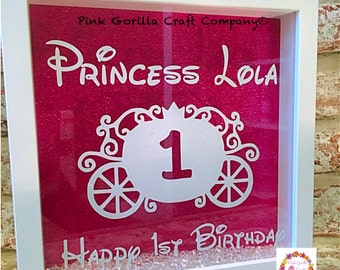 Princess Birthday Frame / Little Girls Frame / Princess Carriage Frame