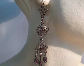 Silver earrings, copper plated with zirconia and garnets