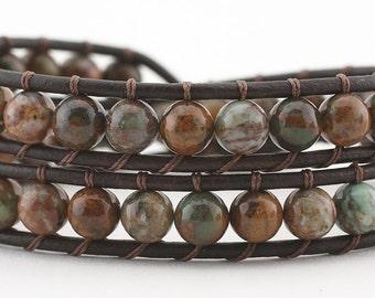 leather wrap bracelet, beaded bracelet, leather bracelet, women's bracelet, African Green Opal, beaded bracelet, boho bracelet, stone