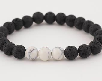 Lava bead bracelet, diffuser bracelet, white howlite, stretch bracelet, beaded bracelet, yoga bracelet, aromatherapy, essential oils