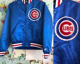 Vintage 1980s/1990s Satin Cubs Bomber Jacket. Small. Starter, blue, red, baseball.