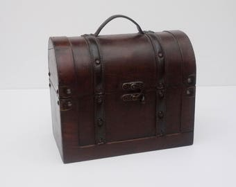 Vintage Wooden and Leather Treasure Chest Shaped wide Bag, french Chippy Pirate Jewellery Storage Box. Funny Wooden Handbag