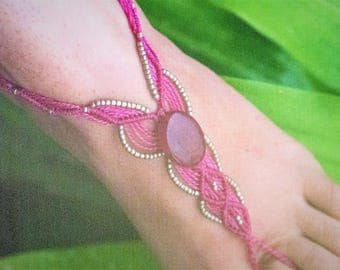 Barefoot sandal, macrame,