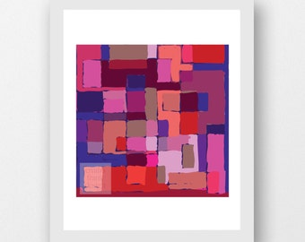 INNER CITY- art print, geometrical, abstract, contemporary, artwork, wallart red, styling, interiors, modernist, mid century inspired