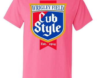 Chicago Cubs Cubs Wrigley Field Cub Style Baseball Tee Shirt Size Small- 2XL PINK