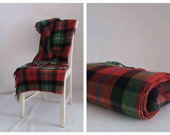Vintage 1970s wool Sulky Plaid | wool blanket | tartan plaid picnic rug travel blanket