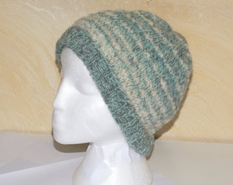 100% wool turquoise and white reversible Knit Beanie