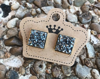 Charcoal drusy earrings, charcoal square drusy studs, drusy earrings, boutique clothes,drusy earrings, drusy, druzy