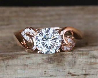 Leaf Moissanite Engagement Ring 6.5mm Round Cut Forever One Moissanite Ring Vintage Anniversary Ring 14K Rose Gold Ring Bridal Ring