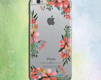 iPhone 6 Case Transparent 7 iPhone Case Phone Case iPhone 6s Floral 7 Plus iPhone Phone 6 Case iPhone 6s Plus Pink Flowers Phone Case