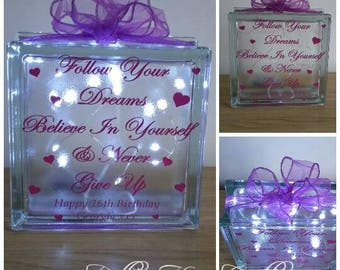 Follow your dreams Glass light block, Birthday gift, 16th, 18th, 21st