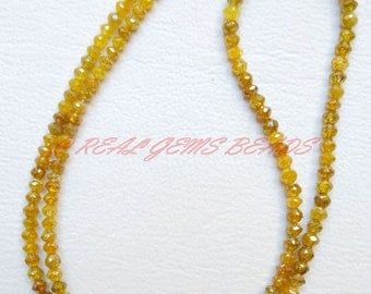 "RARE Natural Yellow Diamond Rondelles, Yellow Diamond Faceted Rondelle Beads, 2.50-4 MM, 7"" Strand, Loose Gemstone Roundel Beads"