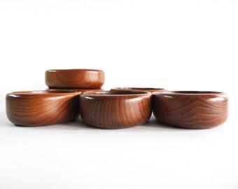 Sowe Konst Sweden Teak Salad Bowls, Set of Six, Mid Century Modern