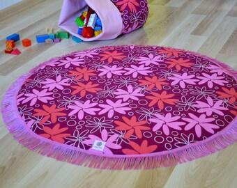 Pink round baby rug, Padded Baby play mat for girl, Floor baby mat, Newborn mat, Pink round nursery rug, Baby girl rug, Baby activity mat