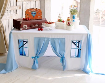Baby shower decor for boy, Baby shower decorations, Blue tablecloth playhouse, Baptism decorations, Baptism party decor, Boys baptism