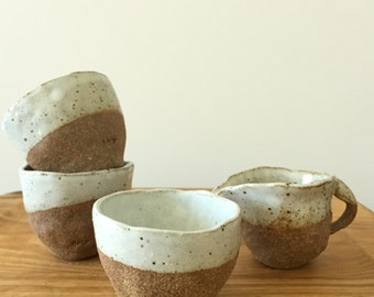 hand built espresso cup / stoneware / organic / partly glazed / food save / wabi sabi / handcrafted