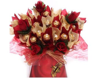 Mother's Day Chocolate Bouquet With Ferrero Rocher, A Luxury Chocolate Truffles Bouquet With Milk Chocolate Bee, Chocolate Gift Idea