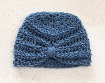Baby hat, Baby turban hat, Turban hat, Blue turban hat, Baby girl hat, Baby girl turban hat, Crochet hat, Photo prop, Ready to ship,