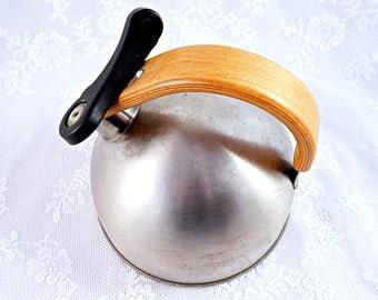 SALE Stainless steel Tea Kettle, Retro Tea Kettle Vintage Metal Tea Kettle with wooden handle Retro Kitchenware. Vintage Kitchenware, Rustic