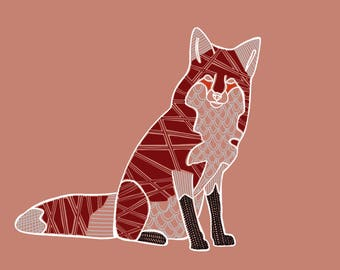 READY TO SHIP: 8x10 print of a red fox with abstract detail