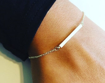 Sterling Silver Plated Solid Bar Chain Bracelet