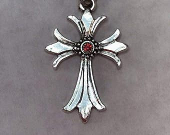 Cross with Ruby Red Crystal