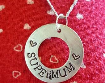 Hand stamped Supermum pendant
