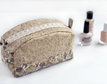 Zipper Bag - Makeup Bag - Beige Zipper Box Bag - Cosmetics Bag - Toiletry Bag - Travel Bag - Mothers Day Gift - Gift for Her - Box Bags