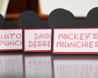 Mickey Mouse Inspired Food Card Tent - Name Card - Place Card