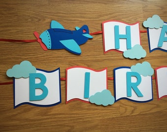Airplane Birthday Banner - Fly Away - Lil' Pilot Party - Aviation - Transportation