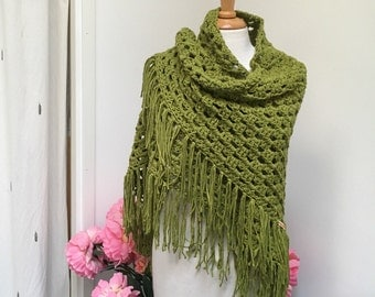 Olive Triangle Shawl