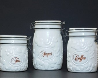 White Kitchen Canister Set 3pc WHEATON Milk Glass Countertop Canister Containers w/Fruit Motif
