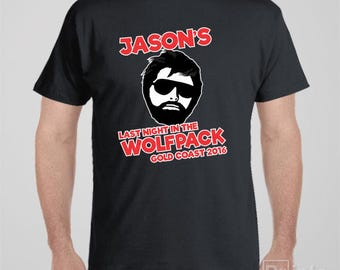 Personalised Bucks party T-shirt - Last Night In The Wolfpack - for bucks or stag night