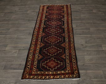 Runner Semi Antique Handmade Shiraz Lori Persian Rug Oriental Area Carpet 3X9