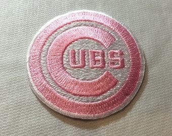Pink Chicago Cubs Embroidered Iron on or sew on Patches  each patch is 2""