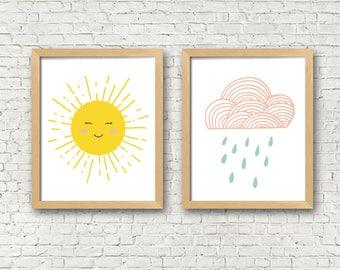 Kids Art Prints set of 2 sunshine and cloud digital art prints kids room decor kids wall art happy sun and cloud printable wall art