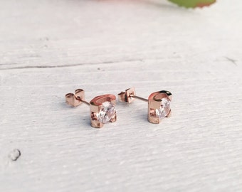 Square Ear Studs Rose Gold | Small Stud Earrings with Rhinestones and Zircon Geometric Design