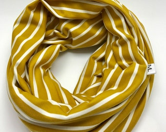 Mustard yellow striped infinity scarf