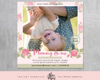 Mommy and Me Mini Session Template, Marketing Board, Photoshop Template, Photography Marketing Set, Mothers Day Mini Sessions, Family Minis