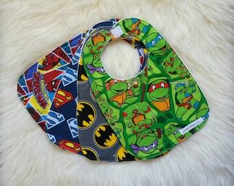 Super hero baby bibs, Boy baby bibs, Flannel baby bibs